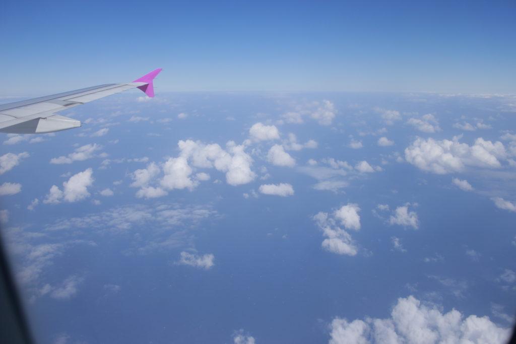 ピーチ飛行機内からの景色