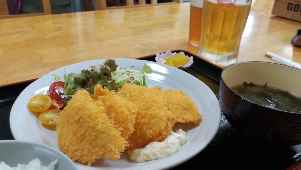 あーちゃんの白身魚定食とビール